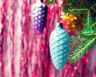 Украшения рождества на ветви сбор винограда типа лилии иллюстрации красный Стоковые Фото