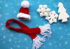 Украшения рождества на голубой предпосылке Стоковые Изображения