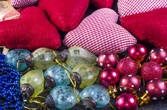 Украшения рождества на деревянной предпосылке Стоковое Изображение