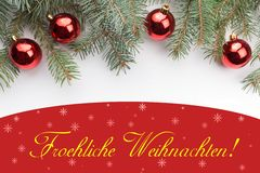Украшения рождества с приветствием рождества в немецком ` Froehliche Weihnachten! ` Стоковое Изображение RF