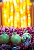 Украшения рождества с расплывчатыми светами Стоковое Изображение