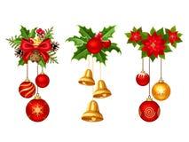 Украшения рождества с шариками и колоколами также вектор иллюстрации притяжки corel иллюстрация вектора