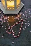 Украшения рождества - тросточки фонарика и конфеты Стоковые Изображения