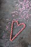 Украшения рождества - sequins и тросточки конфеты Стоковые Фото
