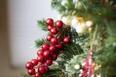 Украшения рождественской елки в красном цвете, золоте, и зеленом цвете Стоковое Фото