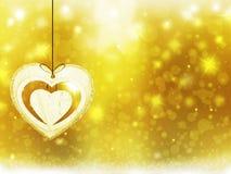 Украшения сердца звезд снега желтого цвета золота рождества предпосылки запачкают Новый Год иллюстрации Стоковые Фотографии RF