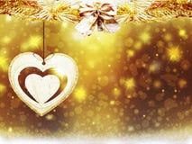 Украшения сердца звезд снега желтого цвета золота рождества предпосылки запачкают Новый Год иллюстрации Стоковые Изображения RF