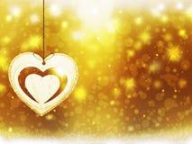 Украшения сердца звезд снега желтого цвета золота рождества предпосылки запачкают Новый Год иллюстрации Стоковая Фотография