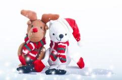 Украшения снеговика, северного оленя и рождества принципиальная схема рождества веселая заполненные игрушки Стоковые Фотографии RF