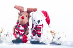 Украшения снеговика, северного оленя и рождества принципиальная схема рождества веселая заполненные игрушки Стоковое фото RF