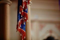 Украшения ткани вися внутри индийского макроса виска Стоковое Изображение