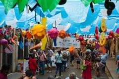 Украшения фестиваля Gracia в Барселоне Стоковая Фотография
