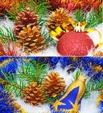 украшения экземпляра рождества фокусируют вал космоса большого орнамента золота красный Стоковые Фото