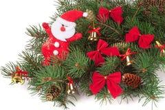 Украшенная ветвь ели рождества изолированная на белой предпосылке Стоковая Фотография