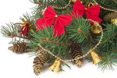 Украшенная ветвь ели рождества изолированная на белой предпосылке Стоковая Фотография RF