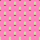 Украшенная картина вектора мороженого или popsicle безшовная ретро Красочная пустыня лета - lolly льда плодоовощ иллюстрация штока