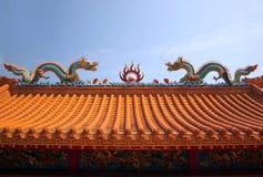 Украшенная китайская крыша виска Стоковое Изображение RF