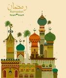 Украшенная мечеть в предпосылке Eid Mubarak счастливой Eid Рамазана иллюстрация вектора