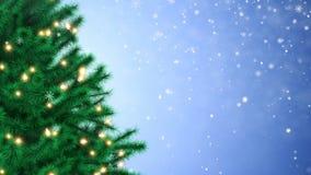 Украшенная рождественская елка и падая снежинки сток-видео