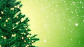 Украшенная рождественская елка и падая снежинки акции видеоматериалы