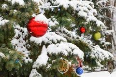 Украшенная рождественская елка с покрашенными шариками в снеге стоковое изображение rf