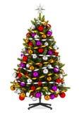 Украшенная рождественская елка изолированная на белизне иллюстрация вектора