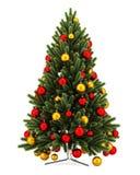 Украшенная рождественская елка изолированная на белизне стоковые изображения