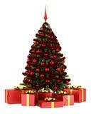 Украшенная рождественская елка при подарочные коробки изолированные на белизне бесплатная иллюстрация