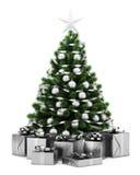 Украшенная рождественская елка при подарочные коробки изолированные на белизне иллюстрация вектора