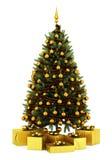 Украшенная рождественская елка с подарочными коробками на белизне иллюстрация штока