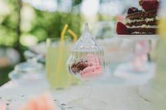 Украшенная сладостная таблица для пикника с помадками, чашки свадьбы лета Стоковые Изображения