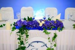 Украшенная wedding таблица для новобрачных Стоковые Изображения