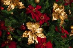 Украшенное дерево, предпосылка Нового Года рождества Стоковое Изображение