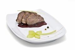 украшенное мясо тарелки Стоковая Фотография