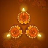 Украшенное Diya на праздник Diwali иллюстрация вектора