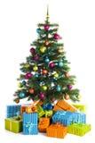 Украшенные коробки рождественской елки и подарка Стоковое Фото