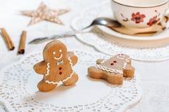 Украшенные печенья имбиря Стоковые Изображения