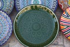 Украшенные плиты с орнаментом Узбекистана национальным стоковые фото
