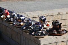 Украшенные плиты с орнаментом Узбекистана национальным стоковое фото rf