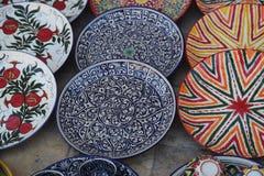 Украшенные плиты с орнаментом Узбекистана национальным стоковая фотография rf