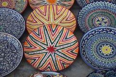 Украшенные плиты с орнаментом Узбекистана национальным стоковое фото