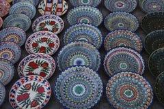 Украшенные плиты с орнаментом Узбекистана национальным стоковое изображение