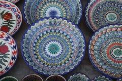 Украшенные плиты с орнаментом Узбекистана национальным стоковые изображения