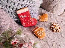 Украшенные покрашенные подушки половика предпосылки пряника рождества стоковые изображения rf