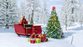 Украшенные рождественская елка и сани santa бесплатная иллюстрация