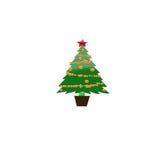 Украшенные рождественская елка и настоящие моменты - иллюстрация Стоковые Изображения RF