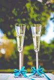 Украшенные стекла шампанского для wedding Стоковая Фотография