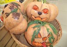 Украшенные тыквы на хеллоуин стоковая фотография