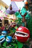 Украшенные улицы района Gracia Грибы и цветут они Стоковое Фото