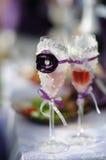 Украшенные Wedding стекла Стоковые Фотографии RF